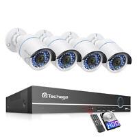 Techage 8CH 48V 1080P POE NVR 4Pcs 2.0MP Outdoor IP Camera Security CCTV System
