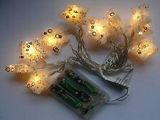 "LED Motiv-Lichterkette ""Sterne"", 10 warmweiße LEDs, Batteriebetrieb, Glitzerdeko"