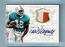 PAUL WARFIELD 2014 NATIONAL TREASURES 3 COLOR PATCH AUTOGRAPH AUTO /7 DOLPHINS