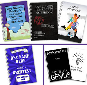 Personalised A5 Softbacked Notebook Notepad for him male boyWirebound