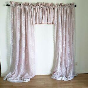 J.C. Penney Lace Curtains 2 Panels 4 Valances 6 Pcs Lined Pink White Roses