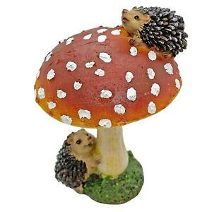 Hedgehogs on Mushroom / Toadstool Garden Ornament