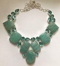 So Very Amazing Amazonite & Blue Topaz Silver Necklace 138 Gms