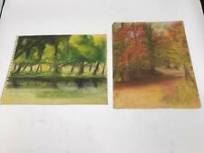 Vtg Mid Century Charcoal On Paper Seasons Landscape Lot Signed Shepherd 8x10