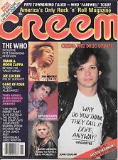 Creem  magazine November 1982 The Who Zappa Jimi David Lee Roth Keith Richards
