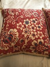 Two RALPH LAUREN Throw Pillows Red Blue Floral Striped