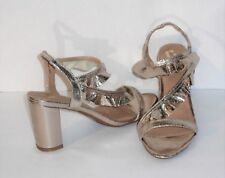 SIZE 11 - GOLD METALLIC SANDALS –SHINY LAME FABRIC - STRAPPY - RUFFLED – NEW $45