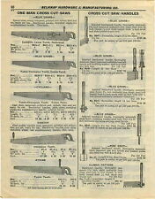 1932 PAPER AD 6 PG Cross Cut One 1 Two Man Saw Blades Blue Grass Disston Atkins