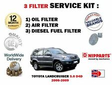FOR TOYOTA LANDCRUISER 3.0DT D4D 2006-2009 OIL AIR FUEL  FILTER SERVICE KIT
