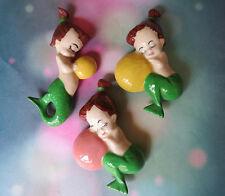 Vintage Ceramic Mermaid Wall Hanging Set of Three / Norcrest Mermaids / Lefton
