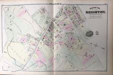 1875 GM HOPKINS SUFFOLK CO. BOSTON MA, BRIGHTON LIBRARY & HIGH SCHOOL ATLAS MAP