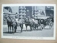 Vintage & Original Postcard- ROYAL SEMI STATE ROAD LANDAU & FOUR BAY HORSES