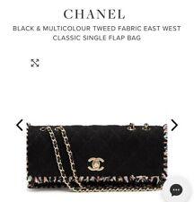 CHANEL BLACK MULTI COLOUR TWEED EAST WEST CLASSIC SINGLE FLAP BAG 90s 2000s