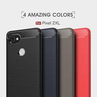 Shockproof Armor Carbon Fiber Hybrid Brush Case Cover For Google Pixel 2 XL