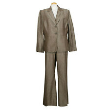 TAHARI Brown Melange Linen Blend Straight Leg Pant Suit 16