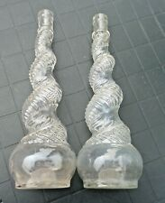 SET OF TWO SPIRAL SHAPPED GLASS BOTTLES