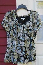 "Dressbarn Multi-Color Short Sleeve Keyhole/Tie Neck Lined Blouse Size Large 22"""