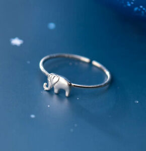 B18 001 Ring Small Elephant Sterling Silver 925 Adjustable Size