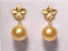 golden South Sea pearl dangle earrings, solid 14k yellow gold.
