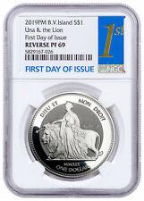 2019 BVI Una & The Lion 1 oz Silver Reverse Proof $1 NGC PF69 UC FDI SKU60543