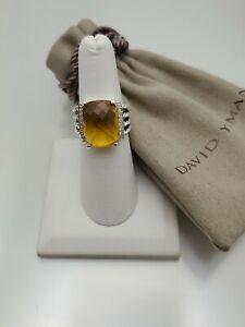 David Yurman Wheaton Ring With Citrine And Diamonds 16x12mm Size 6.5