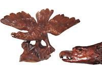 Antique Hand Carved Black Forest Soaring Eagle Statue Folk Art Wood 19th Century