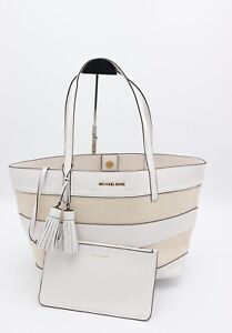 NWT MICHAEL Michael Kors White Striped Canvas Leather Large Shoulder Bag Tote