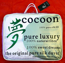 Cocoon Pure Silk Duvets Autumn Sale! King Summer Weight Throw.