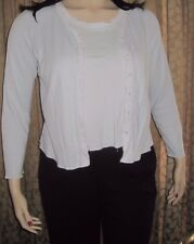 J. Jill Size Large Light Blue Sweater & Tank Top Set With Fluffy White Trim