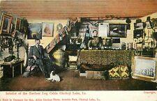 Wheelock Postcard; Okoboji Lake IA Interior of Gardner Log Cabin, Dickinson Co.