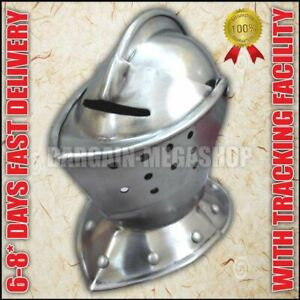 European Closed Helmet Medieval Knight Helm Larp Fancy Armour Costume Dress