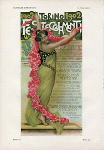 G. V. CARPANETTO Pluma y Lapiz TORINO FESTE 1902 Original Chromo-Litho Print