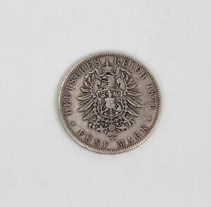 Antik Silber Münze Fünf Mark Deutsches Reich 1876 Albert Koenig Sachsen König