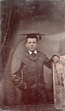 ORIG VICTORIAN Tintype / Ferrotype Photo c1860's YOUNG BOY WEARING MORTARBOARD