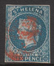 ST HELENA 1856 #1 POSTMARK RED USED IMPERF VICTORIA STAMP