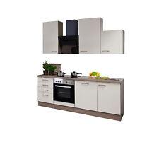 Küchenblock mit E-Geräten Küchenzeile Einbauküche Elektrogeräte 220 creme beige