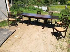 Jaycee/Old Charm Oak 9ft Bulbous Drawleaf Dining Table  with 6 Dining Chairs
