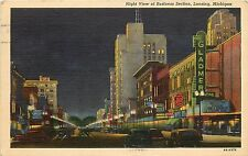 Linen Postcard; Night View of Business Section, Lansing MI Gladmer Theatre Used