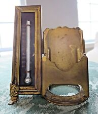 Brass Thermometer - Card Holder Combo Victorian Desktop Accessory Vintage