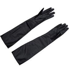 Gants en cuir synthetique doux longs pour femmes / dames - Noir J4S9