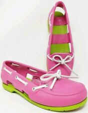 CROCS Women's sz 6 Beach Line Boat Shoe  Flats Pink Fushia Volt Green