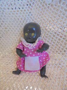 VINTAGE SMALL BLACK BABY DOLL 10.5CM HONG KONG DRESSED RARE