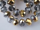 72pcs 6x4mm Faceted Rondelle Spacer Loose Crystal Glass Beads Clear Half Gold