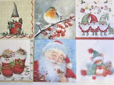 Paper Napkins x 6 Christmas Mix For Decoupage Craft  Card Making (25x25cm) Xmas