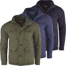 Firetrap Men's Designer Cotton Field Jacket Mens Smart Casual Multi Pocket Coat