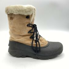 Sorel Womens Winter Boots Tan Suede Mid Calf Lace Up Faux Fur Lined 8.5 M
