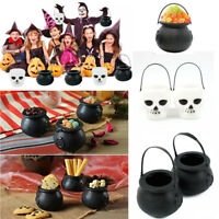 Halloween Plastic Candy Jar Skull Shape Witch Bucket Cauldron Party Favour