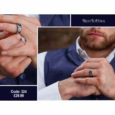 Mens Titanium Ring With Blue Sapphire CZ Classic Band Ring