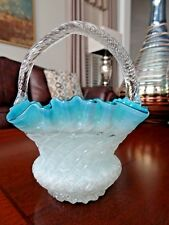 Antique THOMAS WEBB Glass DIAMOND OPTIC BLUE OPAL Victorian BASKET Silver Fleck