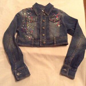Size 14 Justice jacket denim blue jean paint splash western rodeo Girls